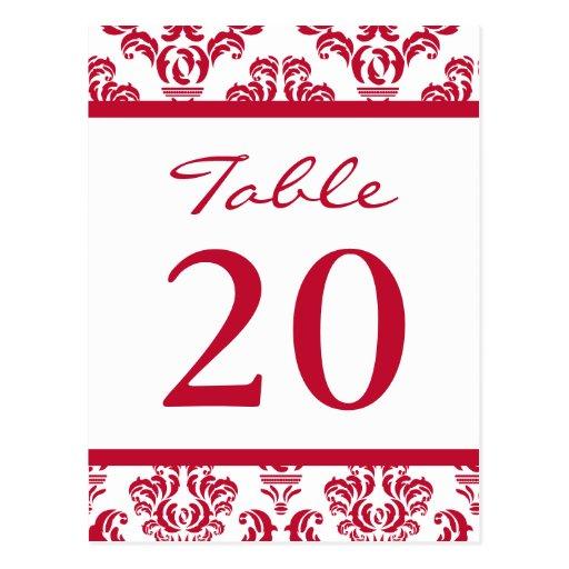 Números de la tabla del damasco (Borgoña/blanco) Tarjeta Postal
