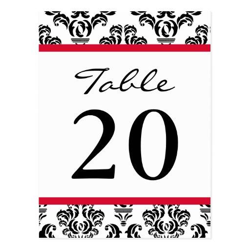 Números de la tabla del damasco (negros/rojos/blan postal