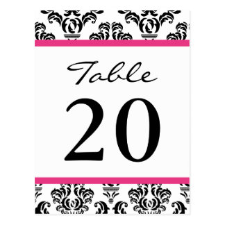Números de la tabla del damasco negros rosado osc postal