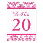 Números de la tabla del damasco (rosado oscuro/bla tarjeta postal