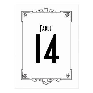 Números de la tabla del estilo del art déco postales