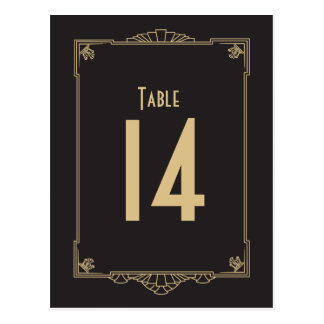 Números de la tabla del estilo del art déco postal