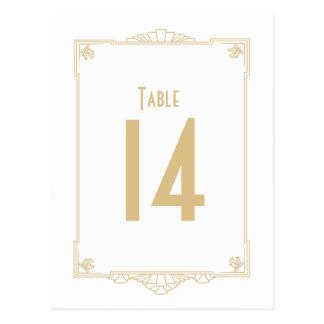 Números de la tabla del estilo del art déco tarjeta postal