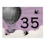 Números de la tabla del globo del aire caliente de postales