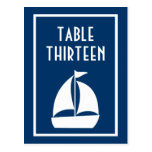 Números de la tabla del velero (azul marino/blanco postal