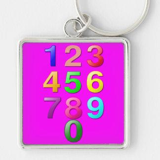 Números de los números enteros o de la cuenta a 9 llavero cuadrado plateado
