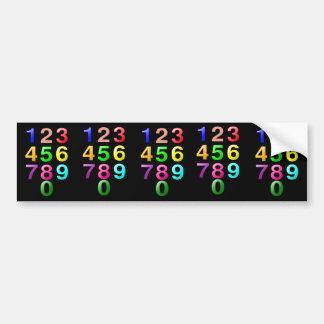 Números de los números enteros o de la cuenta a 9 pegatina para auto