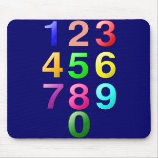 Números de los números enteros o de la cuenta a 9 tapete de ratón