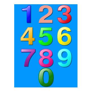 Números de los números enteros o de la cuenta a 9 tarjetas postales