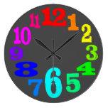 números de reloj coloridos contra fondo gris
