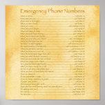 Números de teléfono de la emergencia impresiones