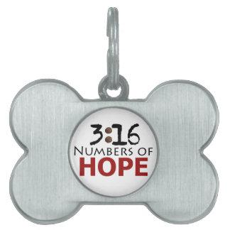 Números del 3:16 de cristiano del personalizado de placa de mascota