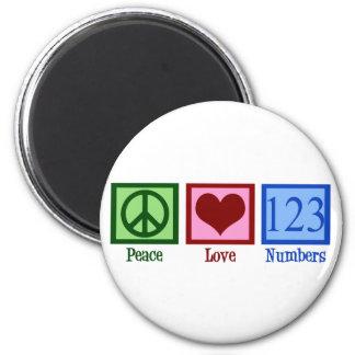 Números del amor de la paz imanes de nevera