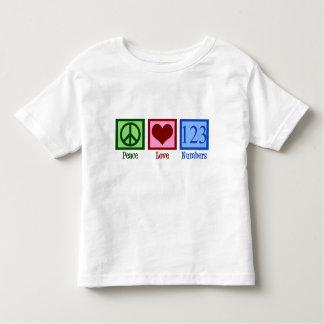 Números del amor de la paz t shirts