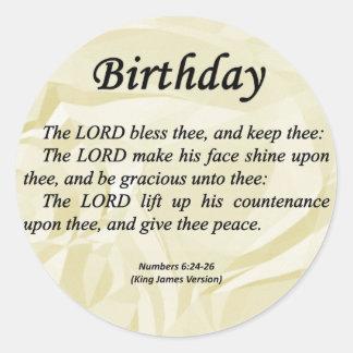 Números del cumpleaños 6-24 etiqueta redonda