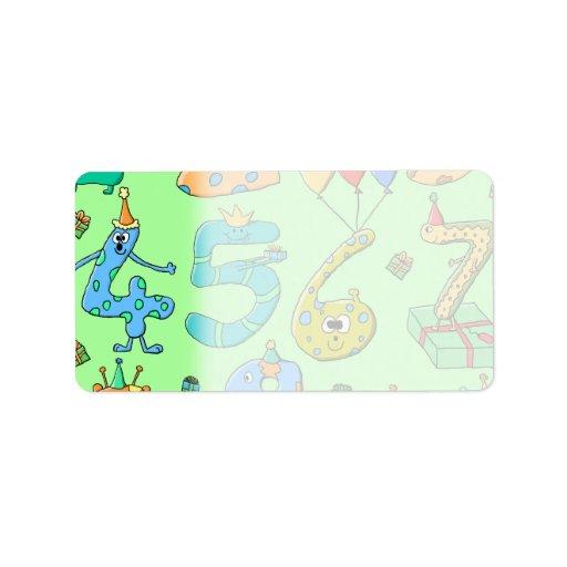 Números del cumpleaños, en pálido - verde. etiqueta de dirección