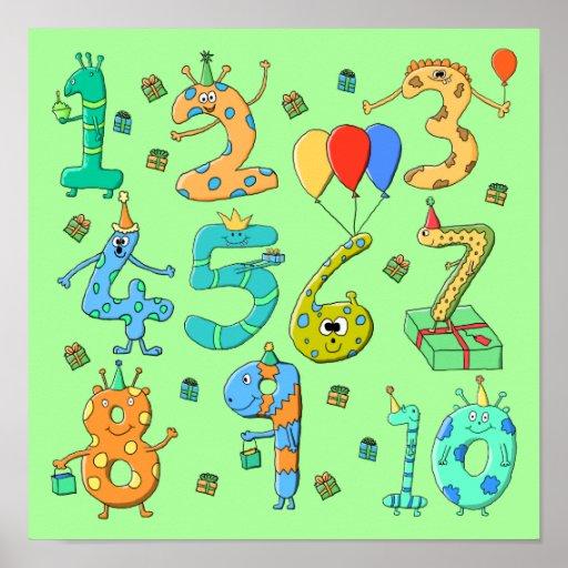 Números del cumpleaños, en pálido - verde. posters