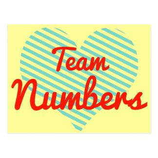 Números del equipo tarjeta postal