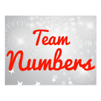 Números del equipo tarjetas postales