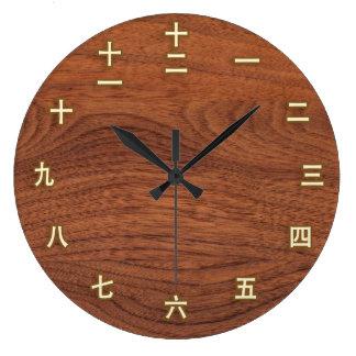 Números del kanji en el reloj de pared de madera