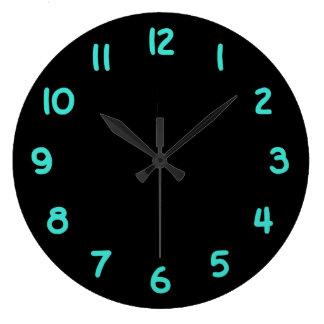 Números del negro y de la turquesa relojes de pared