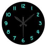 Números del negro y de la turquesa reloj redondo grande