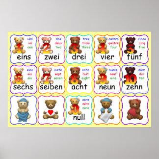 Números del oso en español y francés alemán-inglés póster