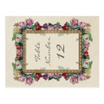 Números elegantes formales florales de la tabla de postales