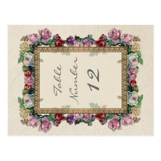 Números elegantes formales florales de la tabla tarjetas postales