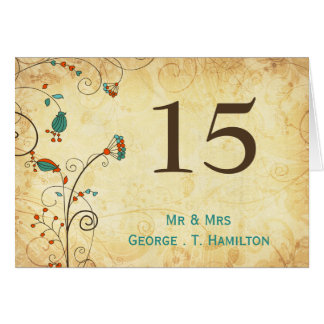 números florales de la tabla de la aguamarina tarjeta pequeña