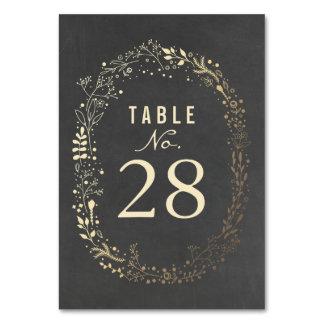 Números florales de la tabla del boda del oro