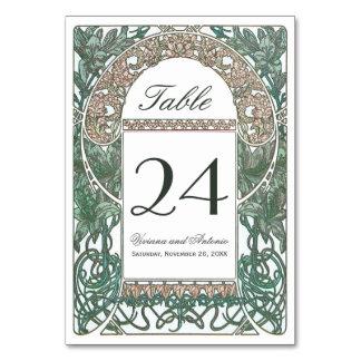 Números florales de la tabla del boda del vintage