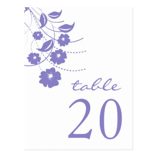 Números florales de la tabla del Flourish (púrpura Tarjetas Postales