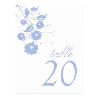 Números florales de la tabla del Flourish (púrpura Postales