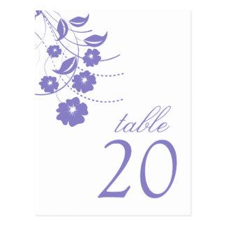 Números florales de la tabla del Flourish (púrpura Tarjeta Postal