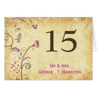 números florales fucsias de la tabla del vintage tarjeta pequeña