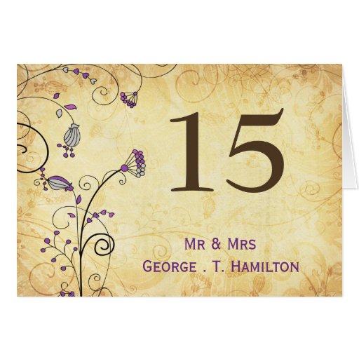 números florales púrpuras de la tabla del vintage tarjeta pequeña