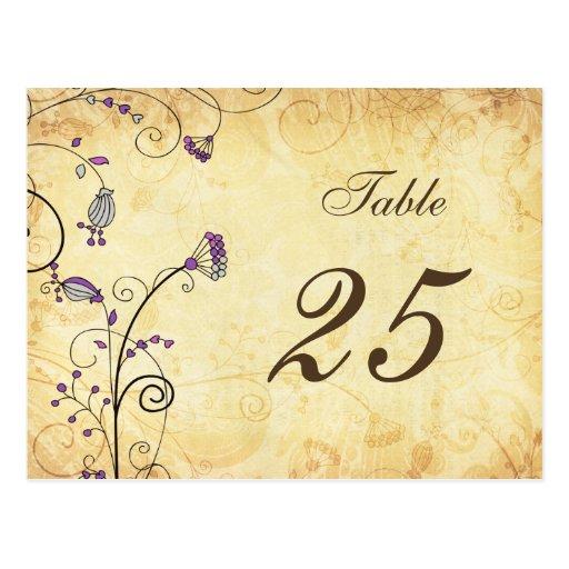números florales púrpuras de la tabla del vintage tarjetas postales