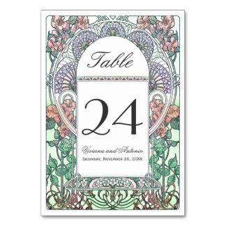 Números hermosos de la tabla del boda de Nouveau