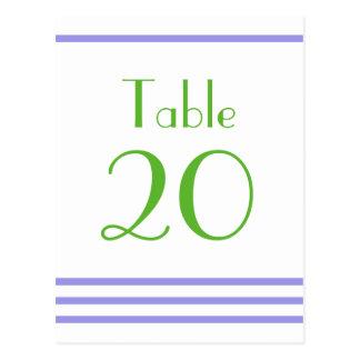 Números modernos de la tabla de las rayas (púrpura tarjetas postales