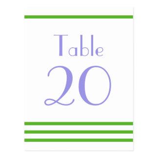 Números modernos de la tabla de las rayas (verde/v postales