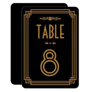 """Números negros de la tabla del boda del art déco invitación 3.5"""" x 5"""""""