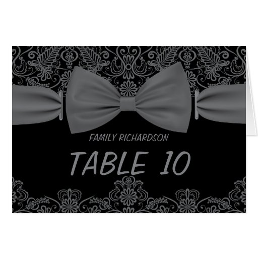 Números oscuros de la tabla del boda del arco del tarjeta pequeña