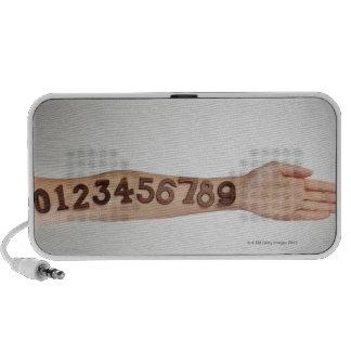 números puestos al brazo, primer de los ands iPhone altavoces