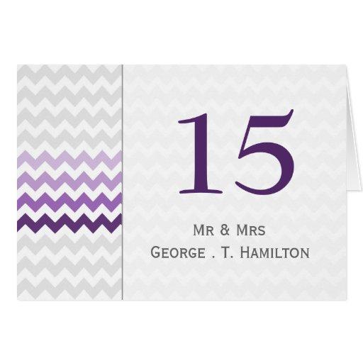 Números púrpuras de la tabla del boda de Ombre del Tarjeta Pequeña