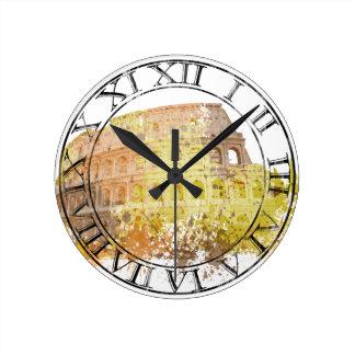 Números romanos de Colosseum Reloj Redondo Mediano