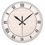 números romanos de la crema ligera y del damasco r reloj redondo grande