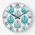 números romanos del damasco blanco azul azul de la relojes de pared