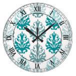 números romanos del damasco blanco azul azul de la reloj redondo grande