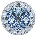 números romanos del damasco elegante azul marino y relojes